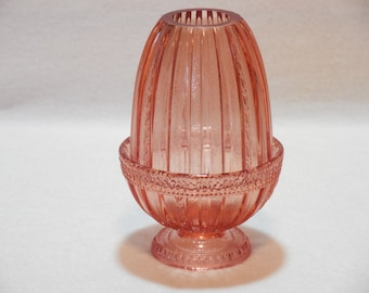 Pink Fenton Two Piece Fairy Lamp