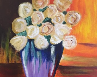 Abstract White Roses acrylic painting 11x14