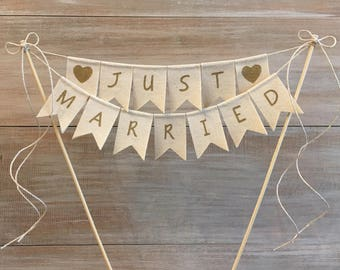 JUST MARRIED Canvas Cake Banner. Gold Just Married Banner.