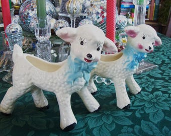 pair of lambs, baby lamb planters, made in USA