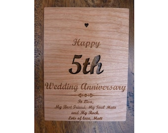 5th Wedding Anniversary Wooden Card - Personalised Wood Card, Anniversary Gift, Bespoke