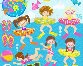 Girl Pool Party Clipart, Beach party, Birthday Party Clipart, Swimming clipart, Summer clipart, Beach clipart, Commercial Use, AMB-903