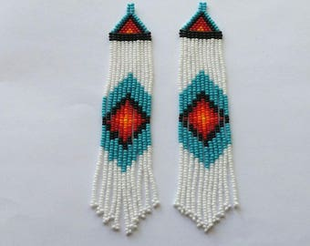 Native American Beaded Earrings Inspired. Yellow Orange Red White Turquoise Earrings. Colorful Dangle Earrings. Beaded Jewelry