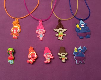 Trolls Shoe Charms for Crocs, Silicone Bracelet Charms, Party Favors, Jibbitz / Trolls Kids PVC Necklaces