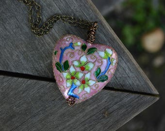 Large Heart Necklace, Cloisonne, Pink Heart, Chunky Necklace