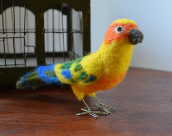 Mr. Sun Conure, needle felted bird fiber art