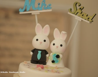 bunny  Wedding Cake Topper-love rabbit and bunny with sweet heart base and swarovski crystal