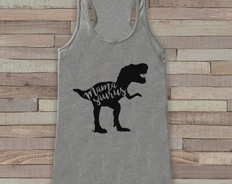 Mamasaurus Tank Top - Womens Grey Shirt - Ladies Dino Tank - Dinosaur Tank - Mother's Day Gift Idea - Family Outfits - Dino Gift for Her