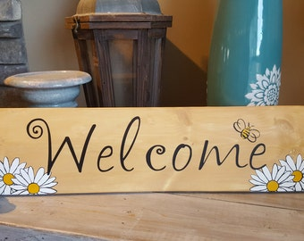 "Handpainted ""Welcome"" wood sign with daisies and bees - Spring!"