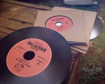 Vintage Wedding favour idea: Indie, Jazz, Retro, Rock & Roll Vinyl CD Invitations by the Bride and Groom - Red label