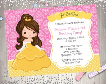Splash pad birthday party invitation invite splish splash bash belle birthday invitation invite belle birthday party invitation princess party printable diy print your own filmwisefo Images