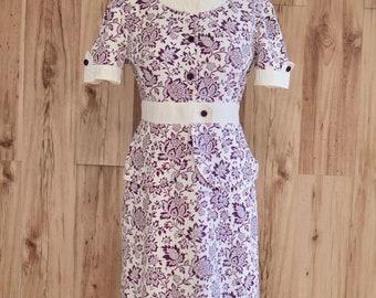 1940s 1950s Purple Floral Print Dress, Forties Fifties Peplum & Flowers Dress, Pin Up Style Straight Dress, Midi Length Spring Summer Dress