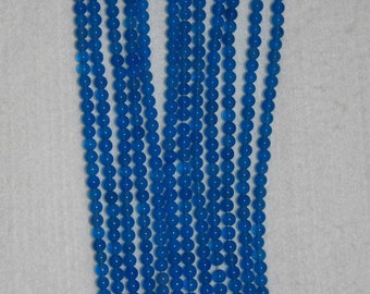 Agate, Blue Agate, Blue Agate Bead, Smooth Bead, Semi Precious, Natural Stone, Agate Bead, Full Strand, 4 mm, AdrianasBeads