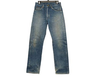 Size 31 Vintage Lees, Vintage Lee Riders Waist Size 31, Distressed Vintage Lee Jeans, USA made Vintage Jeans, Lee Riders Size 31, 31x33