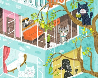 Rita's window. A limited edition giclee print of an original illustration.