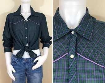 30% Off Sale 70s Womens Green Purple Plaid Western Shirt Blouse, Size XL