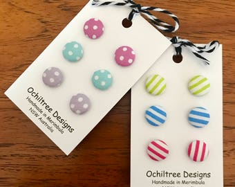 Fabric Button Earrings, summer colours, spots or stripes!
