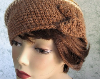 Crochet Pattern Womens Beret With Colorful Band And Bow Trim Vintage Style Crochet Hat Warm Fall Tones Multi Sized Pattern Instant download