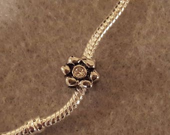 Silver Flower with Clear Rhinestone Center Pugster European Charm