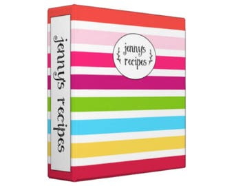 BRIGHT STRIPES CUSTOM Personalized Recipe Binder - Organizer; Wedding Gift; Bridal Shower Gift