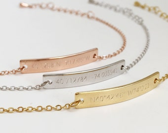 Custom Bar Bracelet: Location Bracelet, Latitude Longitude Bracelets, Coordinates Bracelet, Anniversary Gift Ideas, Unique Personalized Gift