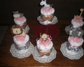 Safari Jungle Girl and Monkey Diaper Cakes Baby Shower Centerpieces other colors and sizes too