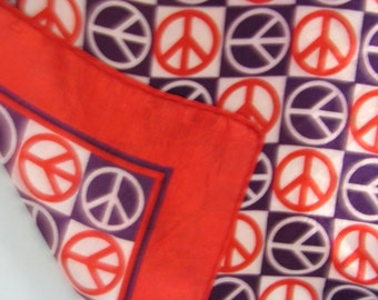 60s Vintage Peace Sign Scarf in Red White & Blue