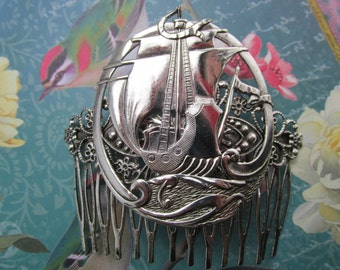 Tall ships hair comb Exotic Nautical hair accessories bridal hair ornaments Large Decorative Hair Comb