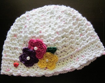 Crocheted Cotton Baby Hat with Delicate Crocheted Flowers and Beaded Centers