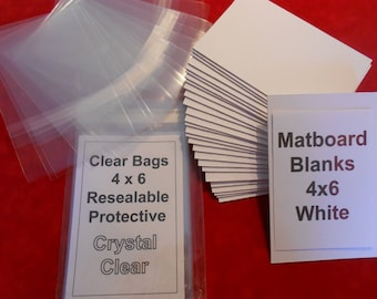 Matboard Backs and Clear Bags (50) each 4 x 6 Matboard Blanks Bags to Fit