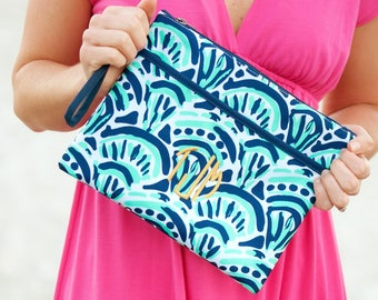Make Waves Monogrammed Zip Pouch, Monogram Cosmetic Bag, Personalized Wet Bag, Makeup Bag, Accessory Bag, Bridesmaid Gift, Wedding Gift