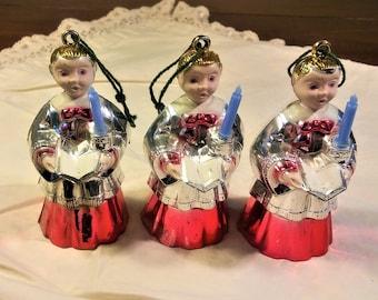 Vintage Christmas Ornaments - Set of 3 Choir Boys