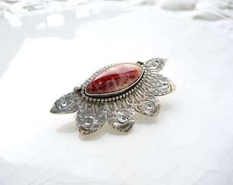 Raspberry Jasper Pin - Hand Crafted Brooch, Sterling Silver, One of a Kind