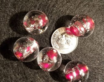 1 15mm Clear with Red/Silver Swirl Round Lampwork Glass Bead A11