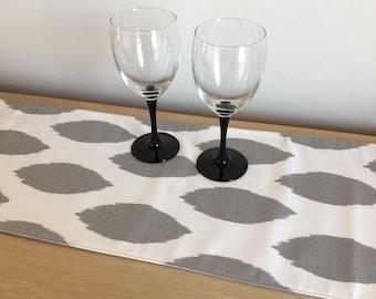 """Grey Ikat Table Runner - 56"""" Table Runner - Dresser Scarf - Buffet Scarf - Animal print runner"""