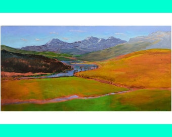 Original Acrylic Landscape Painting, Canvas painting, Wall art, View of Capel Curig, Snowdonia Wales by Paul Manwaring