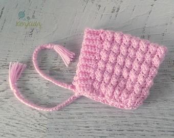 Pink Vintage Hand Crochet Knitted Newborn Baby Pixie Bonnet Beanie Hat Photo Prop