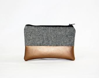 Mini bag - gold, bag, cosmetic bag, purse, make-up bag, vegan, minimalist, pouch, pencil case,