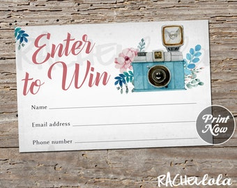 Floral Photography, Raffle Card, Printable prize entry ticket, Win form, Instant digital download template, Camera Photographer Free Session