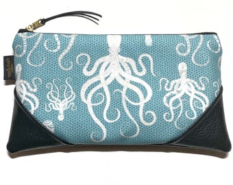 Large Aqua Tako (Octopus) Zipper Pouch / Clutch with Zipper Pull or Leather Wristlet Strap