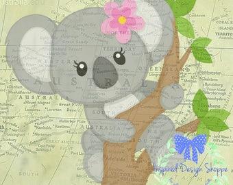 Koala Bear Digital Prints, Set of 3, Girl bedroom decor, nursery decor, wall decor