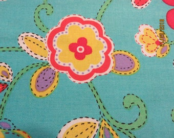 "Floral with Bright Colors Fabric-Priced Per 1/2 Yd- 44"" Wide   Free Shipping"