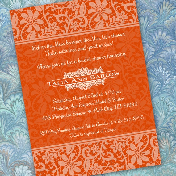 bridal shower invitations, tangerine tango bridal shower invitations, tangerine wedding invitations, OSU graduation invitations, IN217.3