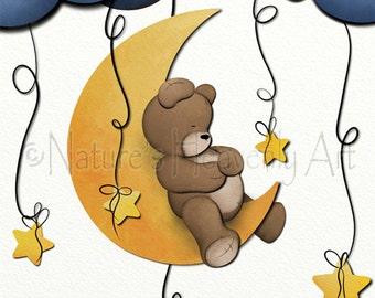 11 x 14 Teddy Bear Baby Nursery Wall Art, Childrens Art Print, Art for Childs Room Decor, Moon and Stars  (201)