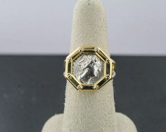 18kt yellow gold roman coin ring