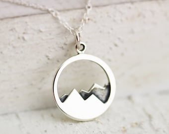 Mountain Necklace - Sterling Silver Mountain Range Necklace - Mountain Range Pendant - Mountain Jewelry Mountain Climbing - Hiking Necklace