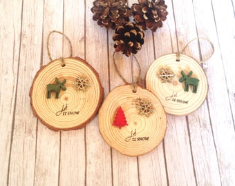 Stag Christmas decorations, wood slice decorations , reindeer Christmas tree decorations, rustic tree decoration, rustic Christmas