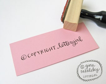 Handwritten Business 1-line Stamp: your choice of self-inking or red rubber