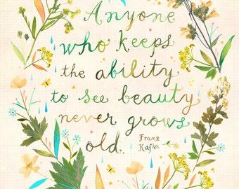 See Beauty Art Print | Watercolor Wall Art | Kafka Quote | Katie Daisy |  8x10 11x14