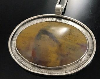 Earthy Organic Petrified Wood Pendant; Sterling Silver Artisan Pendant